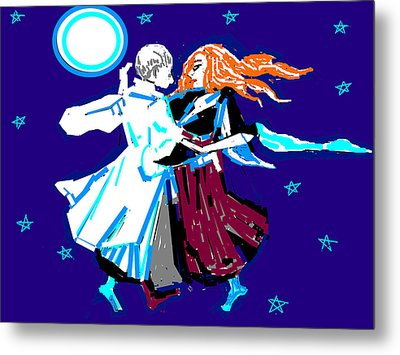 Moon And The Couple Metal Print