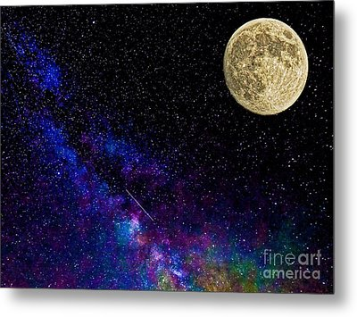 Moon And The Milkyway Compilation Photo Metal Print by Robert Neiszer