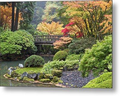 Moon Bridge And Autumn Colors, Portland Metal Print by William Sutton