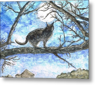 Metal Print featuring the painting Moon Cat by Teresa White