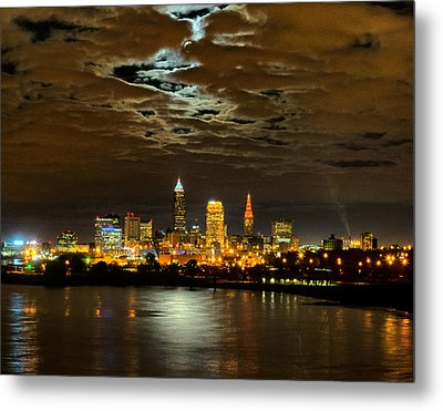 Moon Clouds Over Cleveland Metal Print