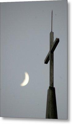 Moon Cross Metal Print by Beverly Hammond