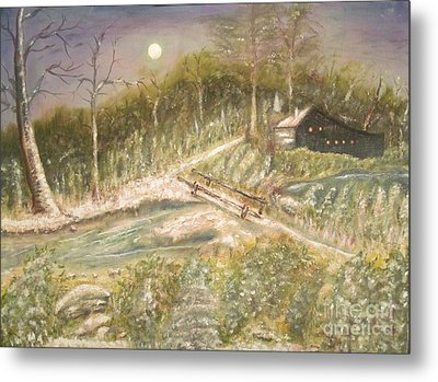 Moon Glow Original Oil Painting Metal Print by Anthony Morretta