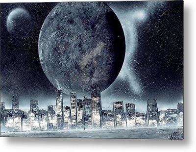 Moon Lit City Metal Print