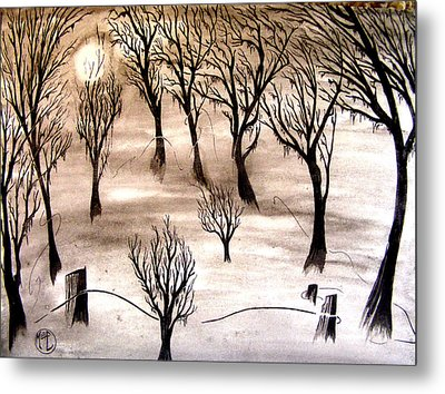 Metal Print featuring the painting Moon Lit Fog by Justin Moore
