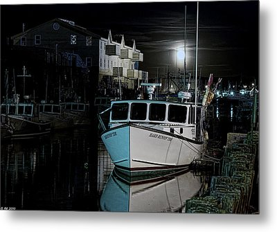 Metal Print featuring the photograph Moon Lit Harbor by Richard Bean