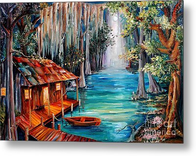 Moon On The Bayou Metal Print