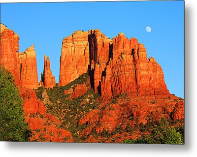 Metal Print featuring the photograph moon Over Cathedral by Tom Kelly