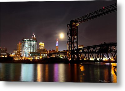 Metal Print featuring the photograph Moon Over Cleveland by Daniel Behm