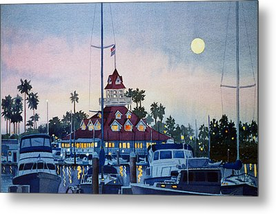 Moon Over Coronado Boathouse Metal Print by Mary Helmreich