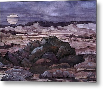 Metal Print featuring the painting Moon Over Desert by Mikhail Savchenko