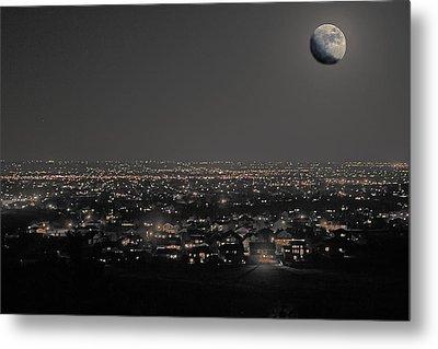 Moon Over Fort Collins Metal Print by David Kehrli