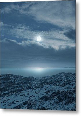 Moon Over Frozen Landscape Metal Print