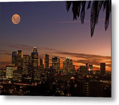 Moon Over L.a. Metal Print
