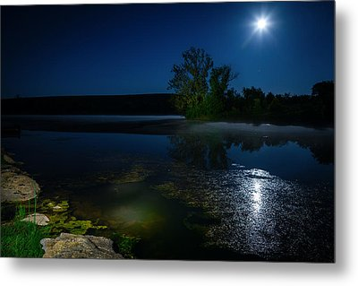 Moon Over Lake Metal Print by Alexey Stiop
