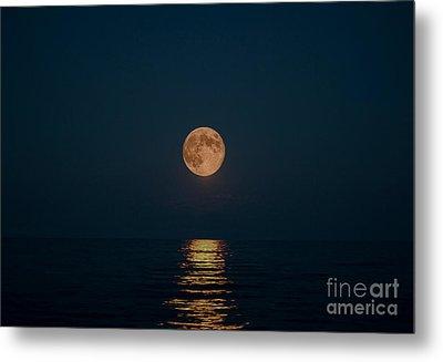 Moon Over Lake Of Shining Waters Metal Print by Barbara McMahon