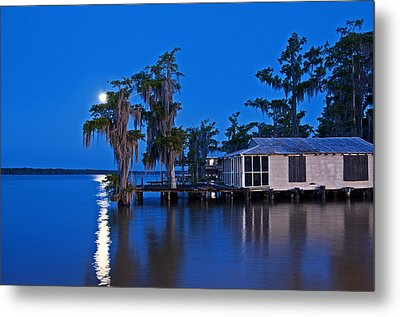 Moon Over Lake Verret Metal Print by Andy Crawford