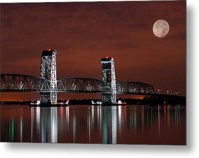 Moon Over Marine Parkway Bridge - Gil Hodges Memorial Bridge Metal Print by Gary Heller