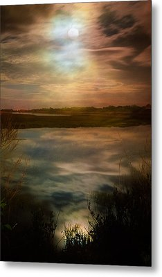Moon Over Marsh - 35mm Film Metal Print by Gary Heller