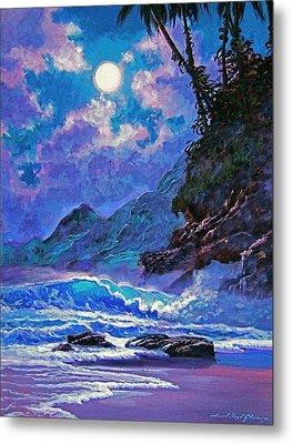 Moon Over Maui Metal Print by David Lloyd Glover