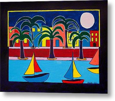 Moon Over Miami Metal Print by Marlene MALKA Harris