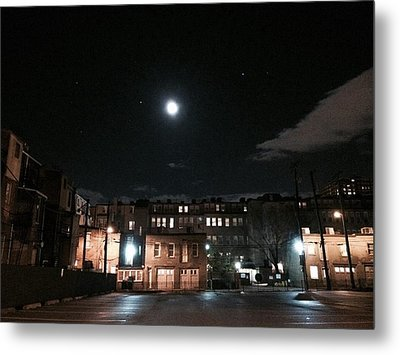 Metal Print featuring the photograph Moon Over Midtown by Toni Martsoukos