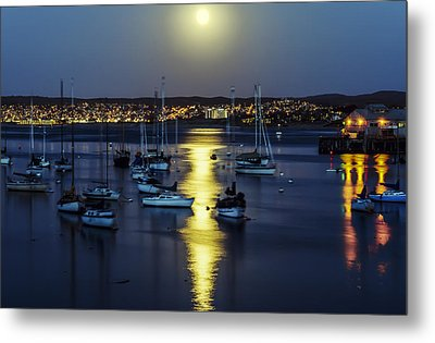 Moon Over Monterey Bay Metal Print by Joseph S Giacalone