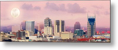 Moon Over Nashville Metal Print