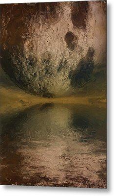 Moon Over Ocean Metal Print by Ayse Deniz