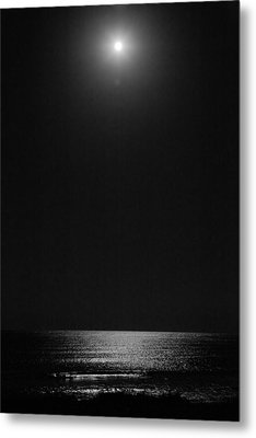 Moon Over Ocean Metal Print