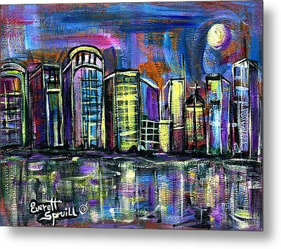 Moon Over Orlando Metal Print
