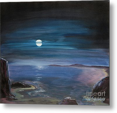 Moon Over Quiet Ocean Metal Print by Jayne Schelden