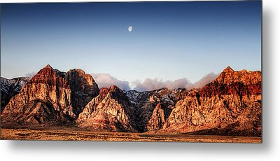 Moon Over Red Rock Canyon Metal Print by Michael White