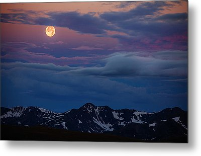 Moon Over Rockies Metal Print