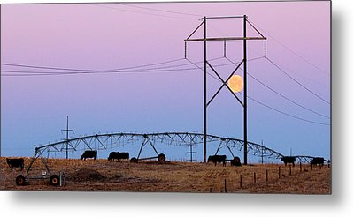 Metal Print featuring the photograph Moon Over Sprinkler by Bill Kesler