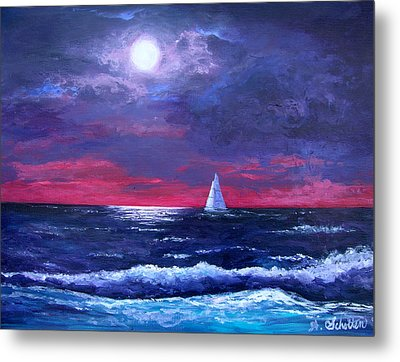 Moon Over Sunset Harbor Metal Print by Amy Scholten