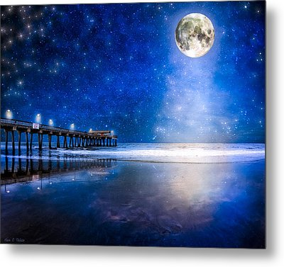 Moon Over The Beach At Tybee Island Metal Print by Mark E Tisdale