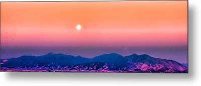 Moon Over The Oquirrh Mountains Metal Print