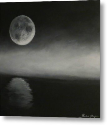 Moon Over The Shores Metal Print by Barbie Baughman