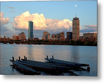 Moon Over The The Prudential On The Charles River Metal Print by Toby McGuire