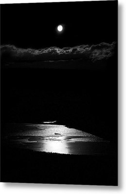 Moon Over Trout Creek Pond Metal Print by Patrick Derickson