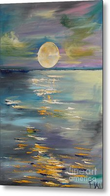 Moon Over Your Town/reflexion Metal Print by PainterArtist FIN