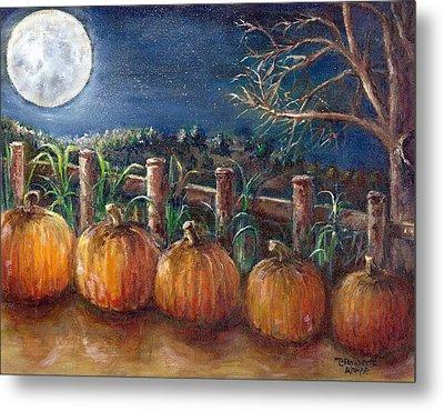Moon Pumpkin Harvest Metal Print