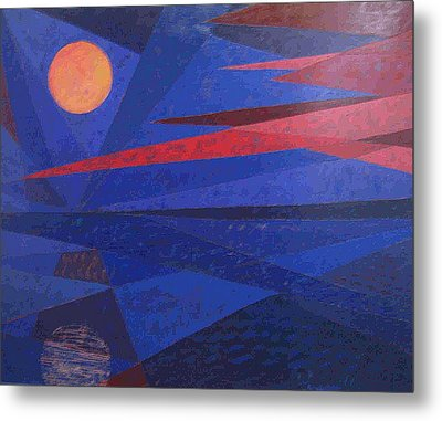 Metal Print featuring the painting Moon Reflecting On A Lake by Walter Casaravilla