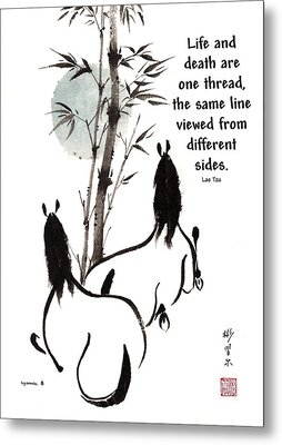 Metal Print featuring the painting Moon Reverence With Lao Tzu Quote I by Bill Searle