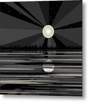 Moon Rise - Black And White Metal Print