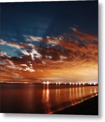 Moon Rise Over Anna Maria Island Historic City Pier Metal Print by Rolf Bertram