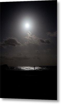 Moon Rise Over Ocean Metal Print