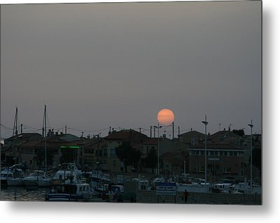 Moon Rising Over Carol South France Metal Print