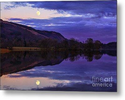 Moon Rising Over Loch Ard Metal Print by John Farnan